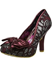 Irregular Choice Mal E Bow Burgundy Mujeres Tacones Court Zapatos