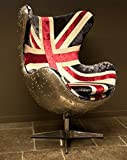 Casa Padrino Art Deco Egg Chair Drehstuhl Sessel Aluminium/Union Jack - Club Sessel - Lounge Sessel - Vintage Airplane Möbel