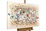 KunstLoft® Gemälde 'Vorboten des Frühlings' in 120x80cm | XXL Leinwandbild handgemalt | Abstrakte bunte Farben auf Beige | signiertes Wandbild-Unikat | Acrylgemälde auf Leinwand | Modernes Kunstbild | Sehr großes Acrylbild auf Keilrahmen