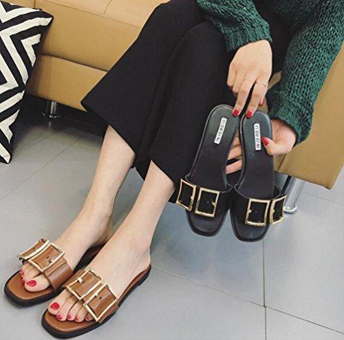 OL matrimonio Casual piatta aperta zehe spessore Cintura Doppia Fibbia Decorazione antiscivolo femminile donne Pantofole EU Taglia 35–39 marrone scuro