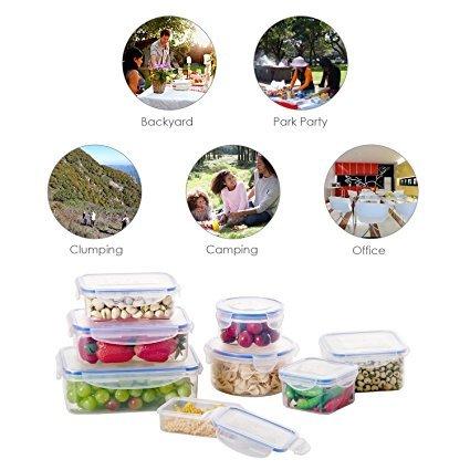 Caja de Comida DEIK  Fiambrera de Plástico Envase de Alimento Set  Contenedor de Almacenamiento de Alimentos con Tapa de Bloqueo Tapa  8 Unidades  Apta  para Lavavajillas