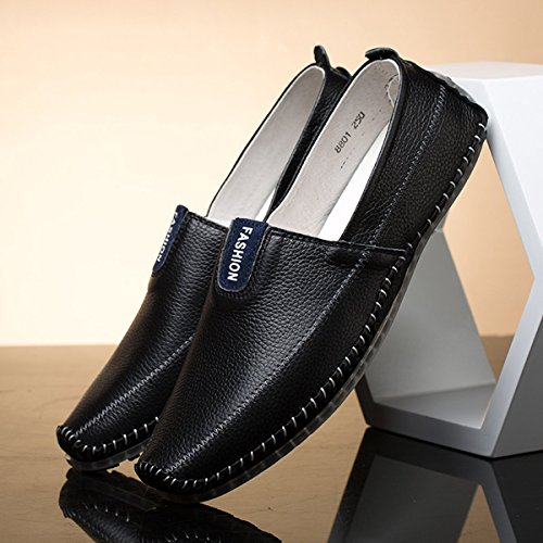 AFFINEST Herren Leder Slipper Loafer fahren Schuhe Casual Boot Schuhe Schwarz