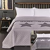 DecoKing 77245 Tagesdecke 240 x 260 cm silber stahl anthrazit Bettüberwurf zweiseitig steel silver Steppung Starly