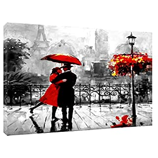 Couple with RED Umbrella in Paris Black White Background Print Canvas Landscape Home Decoration Wall Art 30 x 20 inch -18mm Depth