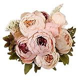 Houda - Ramo de flores de peonia artificiales vintage para decoración