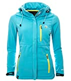 Geographical Norway Damen Softshell Funktions Jacke Outdoor Regen wasserabweisend [GeNo-15-Türkis-Gr.XL]