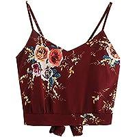CLOOM Bluse Damen Camisole Sommer Hemdbluse Ärmellose Sleeveless Crop Cami Top Elegant Blume Shirt Ärmellos Vest... preisvergleich bei billige-tabletten.eu