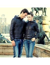 Koly Delgado caliente de invierno Color caramelo Slim mujer abajo chaqueta (Negro, XXL)