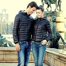 Koly Delgado caliente de invierno Color caramelo Slim mujer abajo chaqueta (Negro, XL)