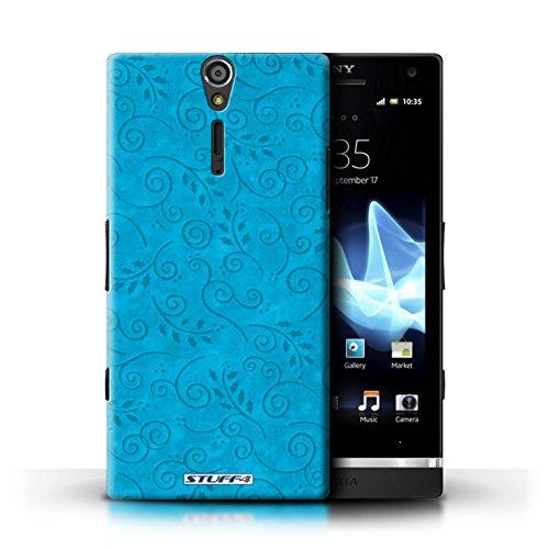 Kobalt® Imprimé Etui / Coque pour Sony Xperia S/LT26i / Pourpre conception / Série Motif Feuille Remous Turquoise