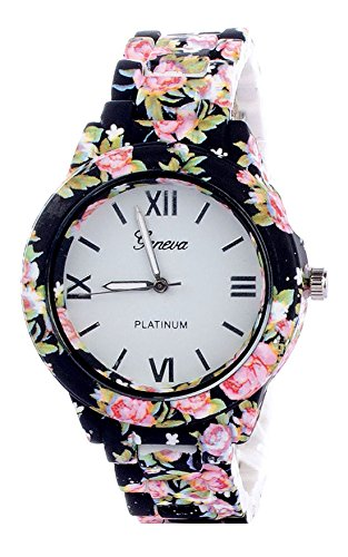 Faas White Dial Fashionable Black Floral Analog Watch For Girls & Women.