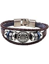 SUYA pulseras,3pcs, pulseras de moda, pulsera de cuero trenzado , coffee color