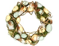 Welcome Guests To Your Easter meri Day in stile with this Gorgeous Easter Wild wreath.In rustic Willow with feathers and soft Authentic looking Eggs, it also looks Great on a wall or Mantelpiece, or even as a surround For candles on the dini...