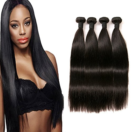 DAIMER Brazilian Bundles Straight Wave Extensions Echthaar Weavon 4 Bundles 100 Natural Virgin Remy Human Hair Extension Weave Weft 400g 20 22 24 26 Inches