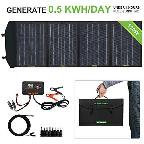 ECO-WORTHY 120 Watts Chargeur de Panneau Solaire Pliable avec Contrôleur de Charge Sortie CC Chargeur