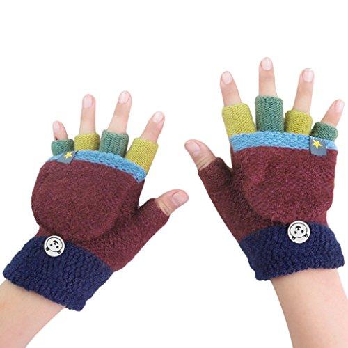 Fäustlinge mit Knopf Klappe Fingerlose Handschuhe für Kinder -