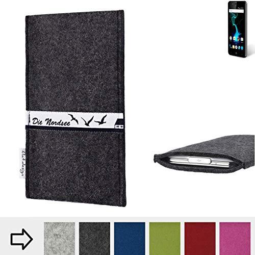 flat.design für Allview P6 Pro Schutzhülle Handy Tasche Skyline mit Webband Nordsee - Maßanfertigung der Schutztasche Handy Hülle aus 100% Wollfilz (anthrazit) für Allview P6 Pro