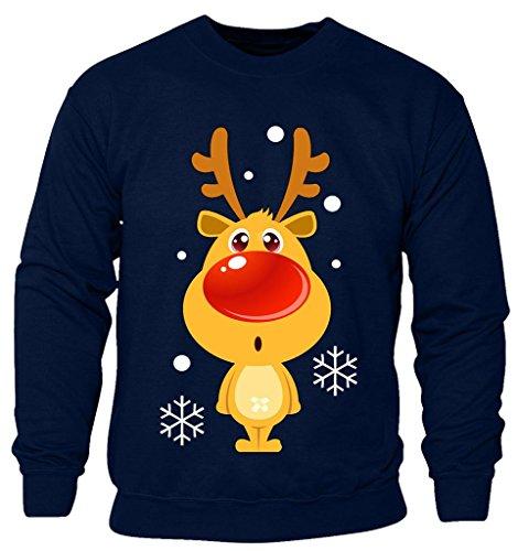 (New Kids Childrens Boys Girls Disney Reindeer Red Nose Cartoon Character Christmas Sweatshirt Jumpers 2-14 years (Kids 9-10 Years) Navy)