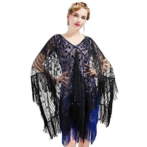 ArtiDeco 1920s Retro Schal Damen Umschlagtücher für Abendkleid Hochzeit Party Braut Schal Gatsby Kostüm Accessoires (Schwarz Stil 1)