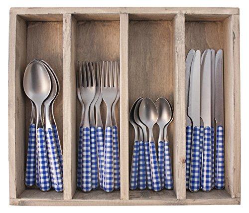 Provence à Carreaux dîner Ensemble de Couverts en Acier Inoxydable, bac, Bleu, 33.5 x 29.5 x 6.5 cm