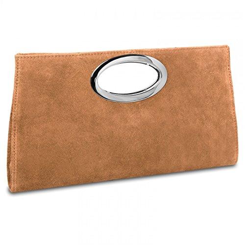 CASPAR-TL699-groe-Damen-XXL-Wildleder-Clutch-Tasche-Handtasche-Abendtasche-Ledertasche