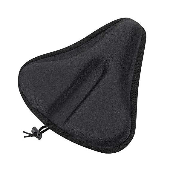 WOTOW Gel Bike Seat Cover Cushion, Comfortable Silica & Foam Padded Bicycle Saddle Cushion Spin Exercise Bikes, Road Mountain Bikes, Outdoor Cycling Water & Dust Resistant Cover