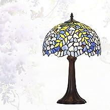 Lámpara de Tiffany estilo/Continental de lámpara de mesa creativos vintage/Lámpara de noche dormitorio Living comedor/ Lámpara de vidrio decorativo de Wisteria-C