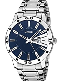 Matrix Silvermine Analog Blue Dial Wrist Watch Day And Date Display For Men & Boys- (DD-16)