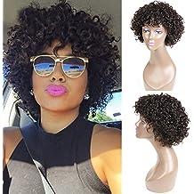 UDU Pelucas cortas rizadas para mujer negra, pelo corto humano rizado, pelucas sin encaje