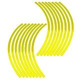 Elerose Ribete de borde de raya de 16 ruedas Adornos para automóviles de 16-19 pulgadas, ruedas de bicicleta y motocicleta(Amarillo fluorescente)