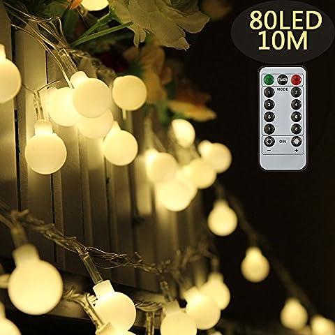 Tomshine Boule de Cristal Ball String Light 0.6W 10M / 32.8Ft 80LED Alimenté par batterie Résistance à l'eau IP44 Télécommande Solaire String Lights Fairy Light Noël Fête Blanche chaude