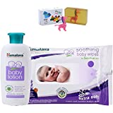 Himalaya Herbals Baby Lotion (100ml)+Himalaya Herbals Soothing Baby Wipes (24 Sheets) With Happy Baby Luxurious Kids Soap With Toy (100gm)
