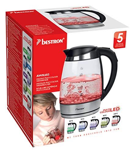 Bestron AWK683 Glas-Wasserkocher mit LED Beleuchtung und Temperaturreglung