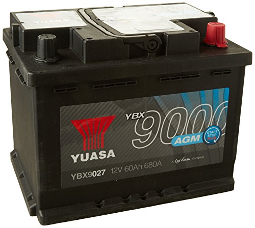 Yuasa YBX9027 AGM Start Stop batteria Plus, 12 V, 680 Ah/60 A