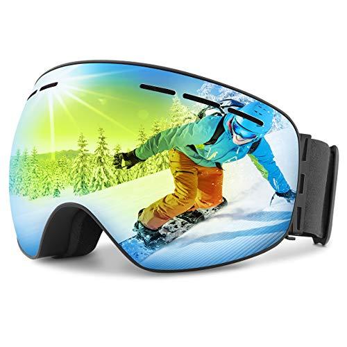 OMORC Lunette de Protection Ski Masque OTG Casque Compatible UV400 Ventilation en Deux Voie Double-Lentille Anti-Brouillard 180° Unisexe pour Sport d'hiver/Ski/Snowboard/Moto/VTT Bleu