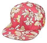 Sense42 Snapback im Floral All-Over-Print Design Rot Beige Orangen Flat Cap Bill Unisex Hip Hop Kappe Schirmmütze Blumen One Size