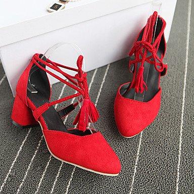 LvYuan Damen-Sandalen-Büro Kleid Lässig-PU-Blockabsatz-Andere-Schwarz Rot Grau Black