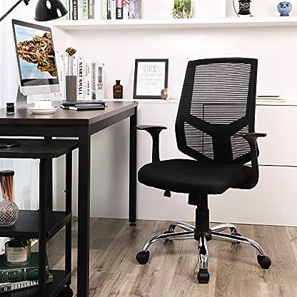 SONGMICS Silla giratoria de Oficina, Silla de Escritorio de Malla Altura Ajustable con Función de inclinación, Negro OBN84BK