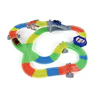 225PCS Twisted Tracks Flexible Assembly Neon Glow in Darkness with Automatic Rotation Track Race Car for Kids