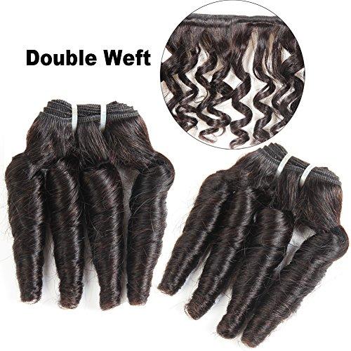 MORICHY Hair Brazilian Funmi Hair Spiral Curl 4 Bundles Human Hair Bundles Short Loose Curly Weave 8A Unprocessed Virgin Brazilian Human Hair Extensions 50g/pc Full Head Natural Color (8 8 8 8)