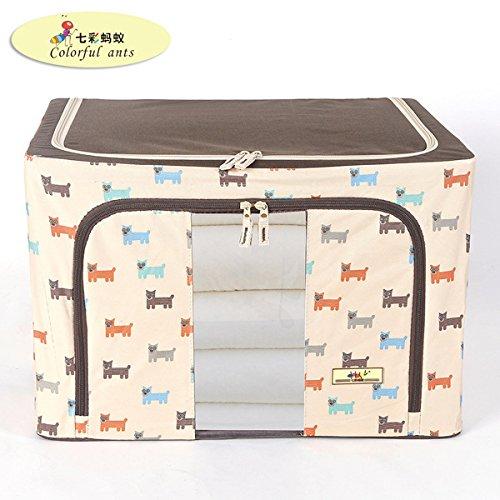 Hoobor House Oxford tessuto abiti di piegatura nella scatola di archiviazione Storage Box con telaio in acciaio dello scomparto di stoccaggio ammissione Quilt88L,cane