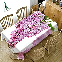 AMON LL Tischdecke für die Gartenküche im Freien oder im Innenbereich, Pfirsichblüten-Tischdecke wasserdichte rechteckige Küchentischdecke,134x183cm