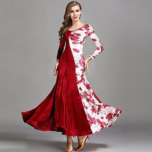 ZTXY Moderne Dame Große Pendel Blume Modern Dance Dressmodern Tanz Kleid Tango Und Walzer Tanz Kleid Tanzwettbewerb Rock Langarm Velvet Dancing Kostüm,Red,S (Red Velvet Kleid Kostüm)