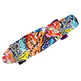MCTECH® 22 Zoll Retro Kinder Skateboard Mini-Board Cruiser board Funboard Fancy Board mit ABEC-5 Kugellager mit LED Leuchtenrolle für Einsteiger und Kids (Graffiti-lila Leuchtrollen)