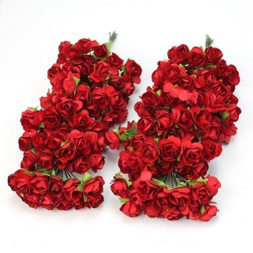 RHX Papier-Rosen, Hochzeitskarten-Deko, Rot, 144 Stück