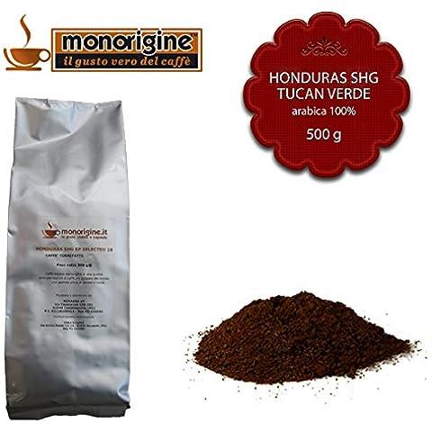 Caffè Arabica macinato fresco per espresso Honduras SHG Tucan Verde 500 gr - Caffè Monorigine Arabica 100% - Caffeina Erbe Caffè