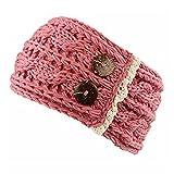Donna Uncinetto Inverno Caldo Fascia Bottoni a maglia intrecciata paraorecchie fasce fasce per capelli fascia per capelli accessori Rosa
