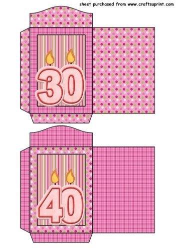Feuille A4 pour confection de carte de vœux - 30th and 40th anniversaire seed packets par Sharon Poore