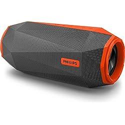 Philips ShoqBox - SB500M - Enceinte Bluetooth Waterproof Portable, 30W, Antichoc, avec LED, Microphone, Son puissant, Orange et Noir