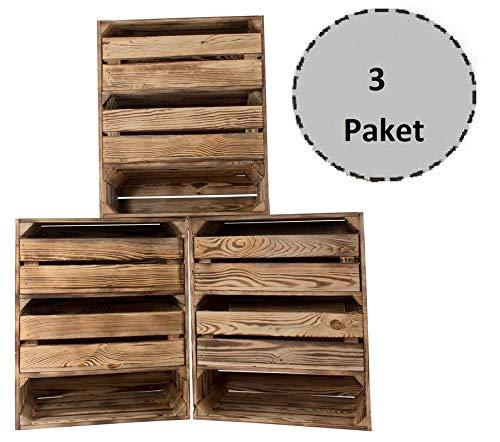 Obstkisten-online 3 Stück hohes geflammtes/flambirtes Holzregal 2 Schubladen 61cm x 50cm x 31cm Obstkiste Holzkiste Holzschrank Weinkisten -